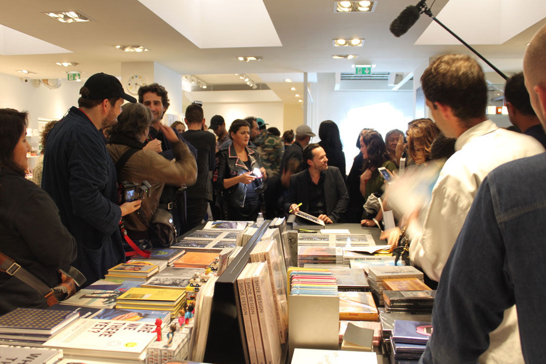 Alexandre de Betak signing copies of Betak: Fashion Show Revolution at Colette in Paris - photo by Hélène Gallois Montbrun