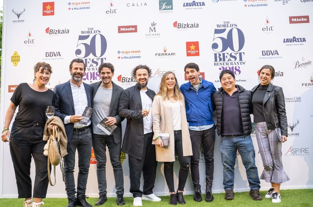 Rodolfo Guzmán (third from left) and Virgilio Martinez (third from right) in Bilbao. Image courtesy of the World's 50 Best Twitter account