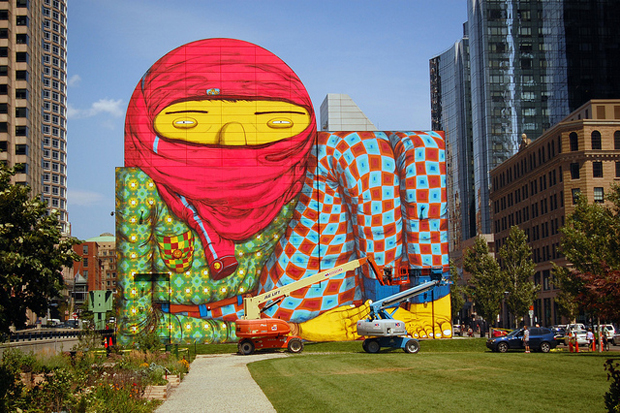 Does this mural really look like a terrorist art for Boston dewey square mural