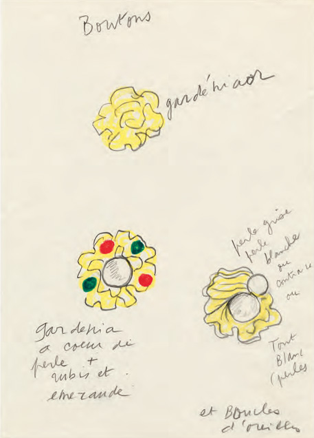 Original sketch for gold buttons ornamented with pearls and red and green diamanté, Autumn/Winter 1988 haute couture collection.