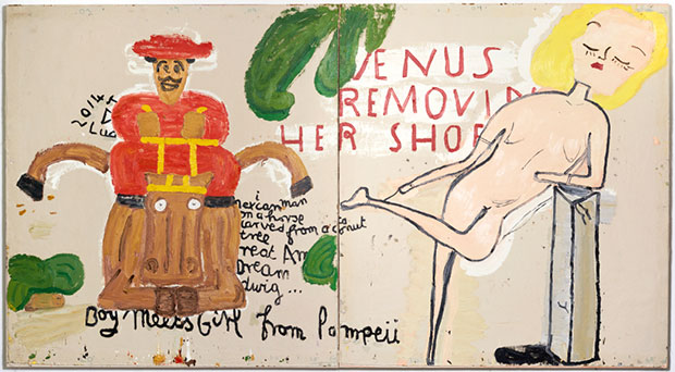 Rose Wylie - Boy Meets Girl from Pompeii, 2015 courtesy the artist, Union Gallery London and Choi&Lager Galerie, Cologne
