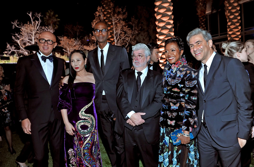 From left: Marco Bizzarri; Eva Chow; Mark Bradford; George Lucas; Mellody Hobson; LACMA's Michael Govan. All images courtesy of LACMA