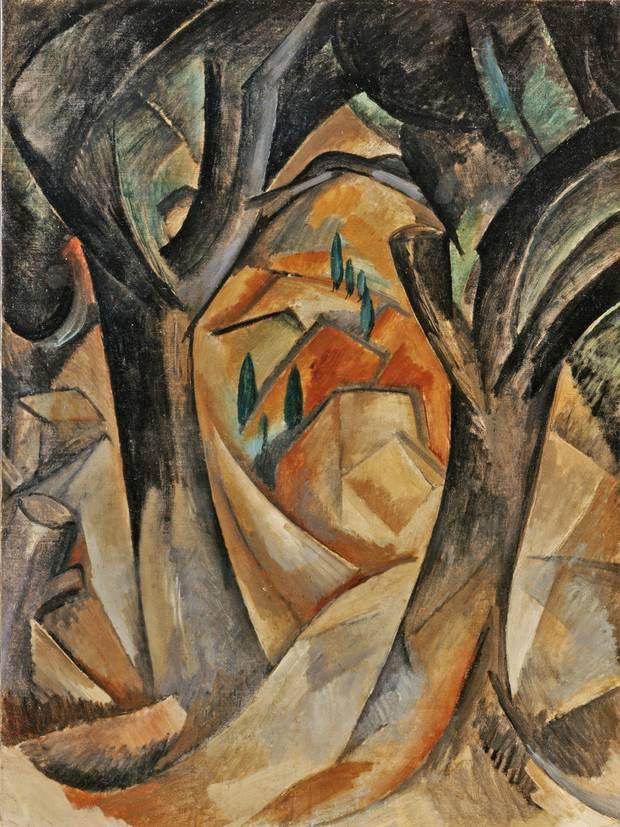 Trees at L'Estaque (1908) by Georges Braque. From The Met's Cubism exhibition. he Metropolitan Museum of Art, New York, Promised Gift from the Leonard A. Lauder Cubist Collection © 2014 Artists Rights Society (ARS), New York / ADAGP, Paris