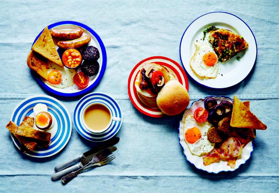 Clockwise from top left: Full English; breakfast roll; laverbread and cockles; full English variation; pour-over coffee; egg and soldiers; from the English breakfast pages of Breakfast: The Cookbook