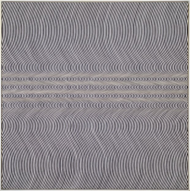 Current (1964) by Bridget Riley. From Eye Attack - Op Art and Kinetic Art 1950-1970