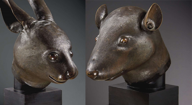The Bronze rabbit and rat heads, looted from China's Imperial Summer Palace, now returned by the Pinault family