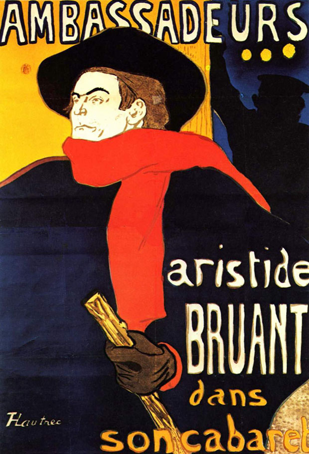 Aristide Bruant (1892-3) by Toulouse-Lautrec