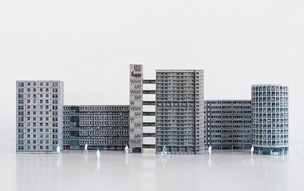 Brutalist icons go from concrete to cardboard