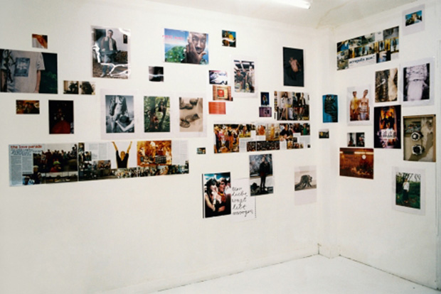 Installation view of Wolfgang Tillmans exhibition at Daniel Buchholz's gallery, 1993. As reproduced in our monograph