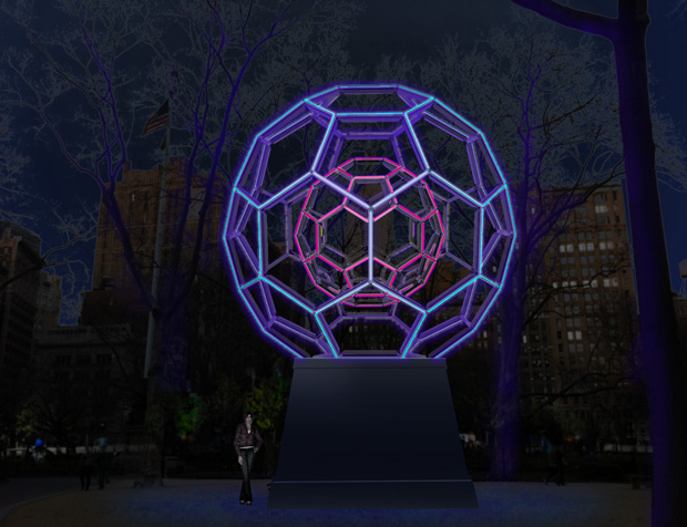 Rendering of Leo Villareal's Buckyball (2012) in Madison Square Park. Courtesy of Leo Villareal.