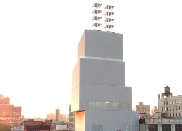 Chris Burden's Quasi-Legal Skyscrapers (2013) on top of the New Museum. Image courtesy of the New Museum.