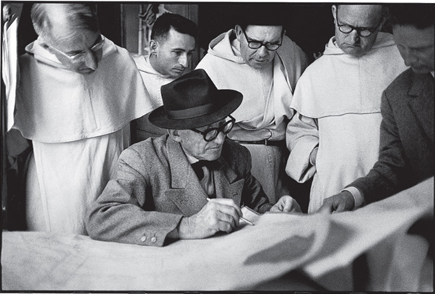 René Burri, Le Corbusier at the monastery in Eveux-sur-l'Arbresle, France, 1959. Photograph by René Burri