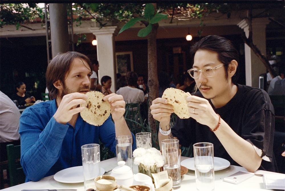 Redzepi and fellow chef Danny Bowien, enjoy breakfast tortillas. Photograph by Sean Donnola for the New York Times