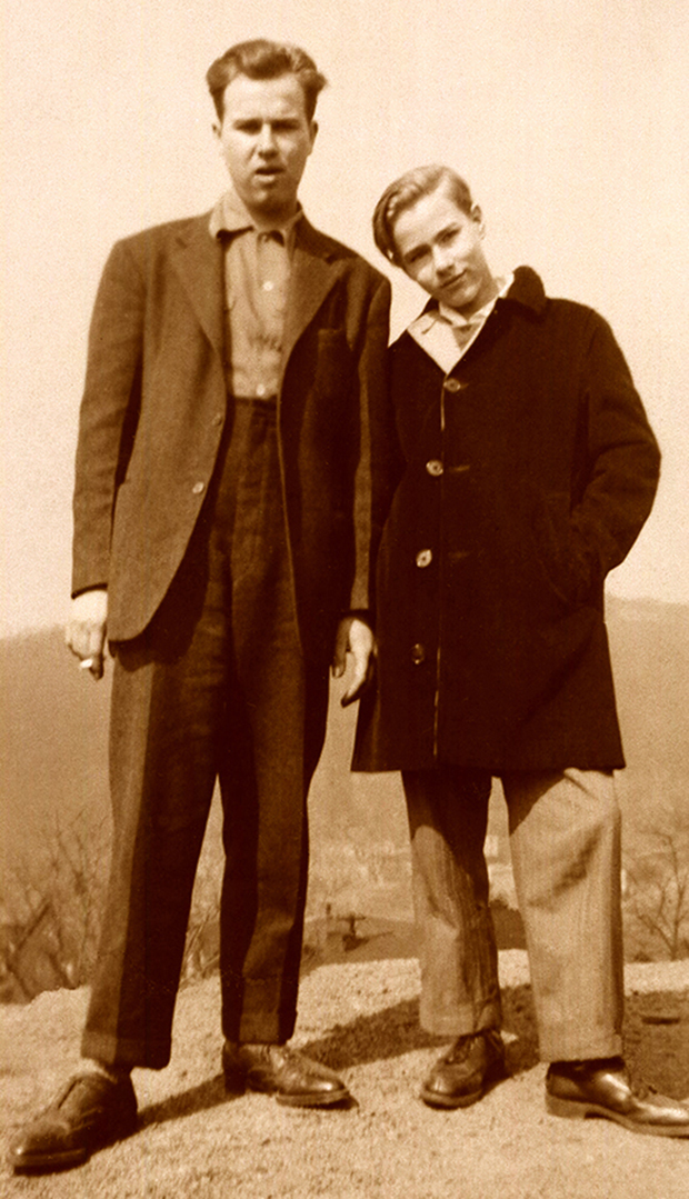 Paul and Andy Warhola, circa 1943. Photo by Anne Warhola.
