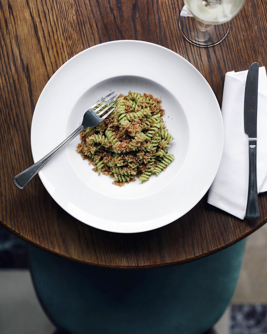 Massimo Bottura's Fusilli with Breadcrumb Pesto. Image courtesy of Cafe Monico's Instagram