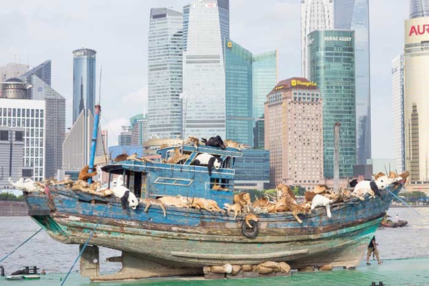 What has Cai Guo-Qiang just sailed into Shanghai?