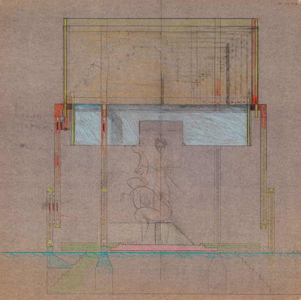 Brion Cemetery Meditation Pavilion drawing - Carlo Scarpa