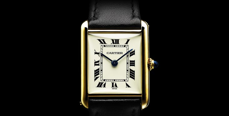 The Tank Louis Cartier watch, from the Cartier Tank range. Courtesy of Cartier