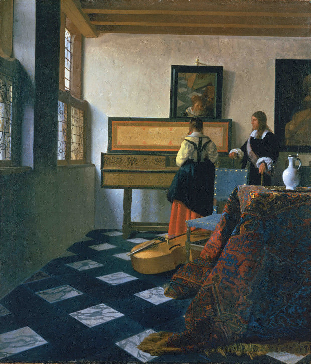Vermeer Lady at the Virginals with a Gentleman or The Music Lesson, (1662-5) as featured in our Vermeer monograph