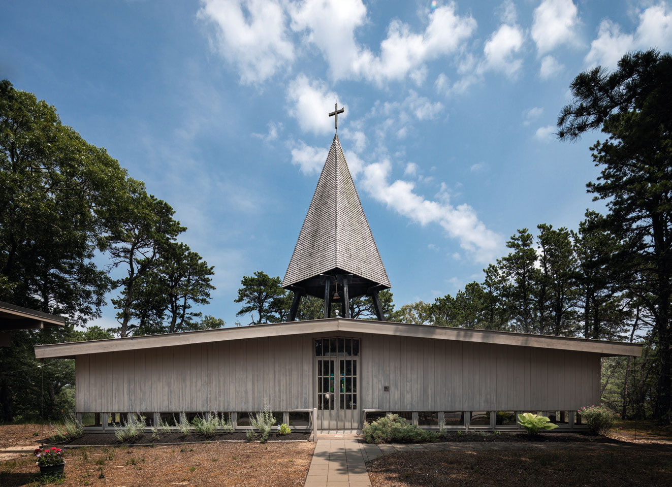 The Chapel of St. James the Fisherman in Wellfleet, Massachusetts, by Olav Hammarstrom. As featured in Mid-Century Modern Architecture Travel Guide: East Coast USA. All photographs by Darren Bradley