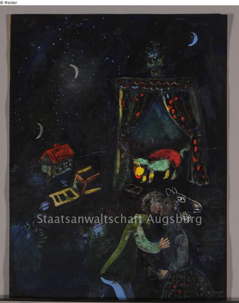 Allegorical scene by Marc Chagall, courtesy of. lostart.de