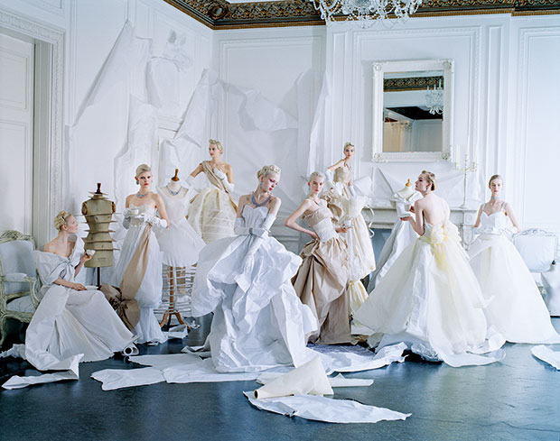 Maja Salamon, Ola Rudnicka, Codie Young, Esmerelda Seay-Reynolds, Nastya Sten, Sasha Luss, Alexandra Kivimäki, and Alice Cornish in paper dresses and jewelry created by Rhea Thierstein. Hair, Julien d'Ys; makeup, Lucia Pieroni; production design, Rhea Thierstein; London, May 2014. From Grace: The American Vogue Years and Saving Grace: My Fashion Archive 1968-2016
