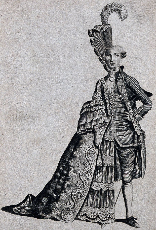 An engraving of Charles d'Éon, c.1762–3, showing him dressed as both a fashionable man and woman. From Going Once