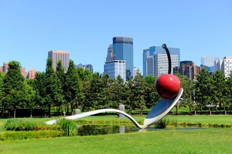 Claes Oldenburg and Coosje van Bruggen's playful Spoonbridge and Cherry