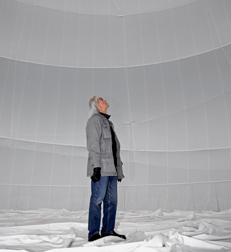 Christo inside Big Air Package. Image by Wolfgang Volz