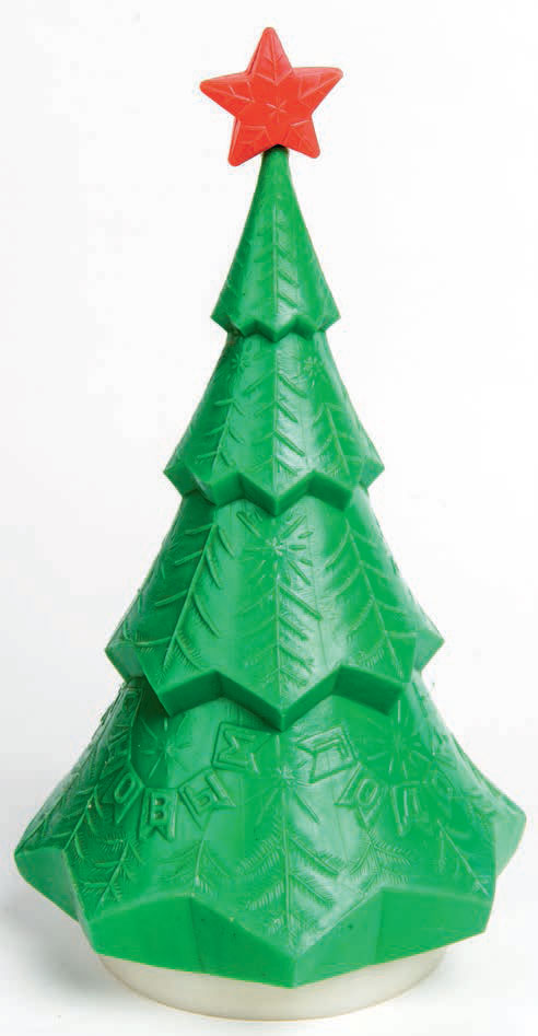 Christmas Tree plastic gift box for sweets, 1970s. From Designed in the USSR