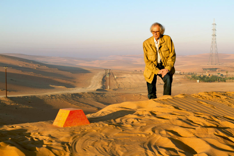 Christo's Spinal Tap moment? The artist beside his scale model of the sculpture, at the proposed site of The Mastaba, November 2011. Photo: Wolfgang Volz
