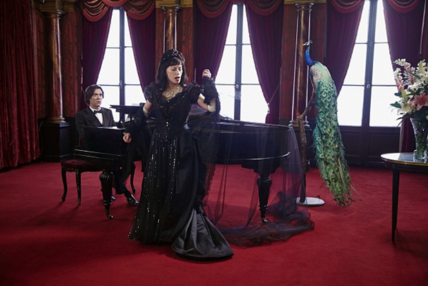 Cindy Sherman as Maria Callas while Rufus Wainwright tinkles the ivories - photo by artist and film director Francesco Vezzoli