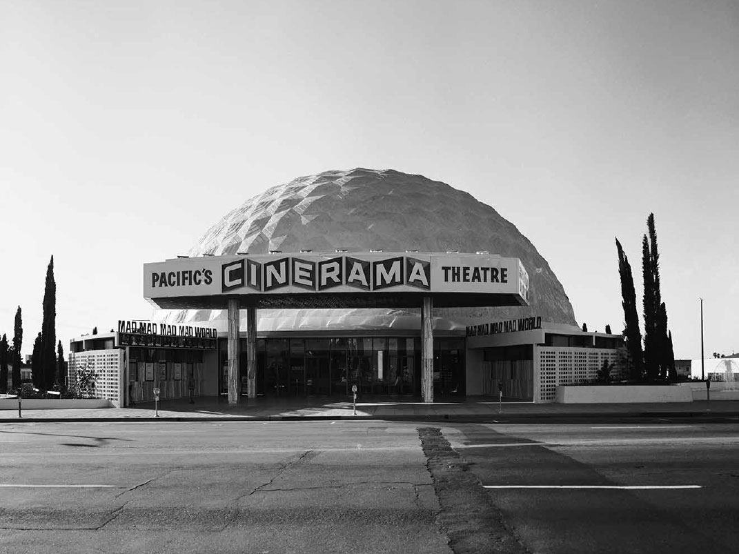 Marvin Rand's 1963 photograph of the Cinerama Dome, Hollywood, by Welton Becket & Associates, as featured in our book California Captured
