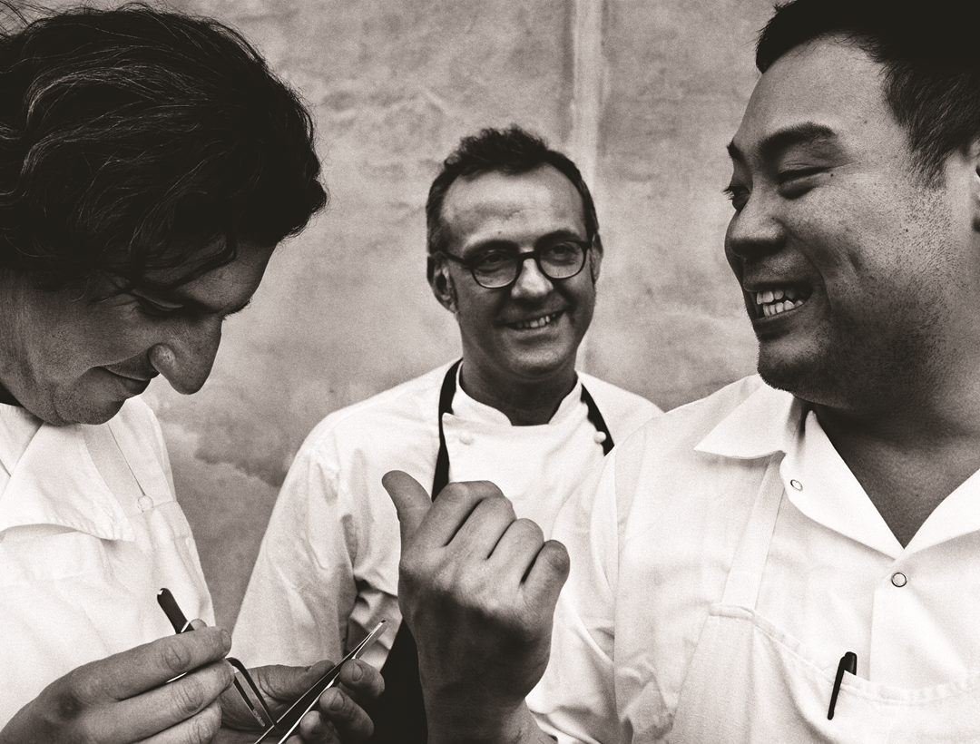 David Chang (right) with Massimo Bottura (centre) and Claude Bosi (left) in 2012 from Cook It Raw. Photograph by Per-Anders Jorgensen