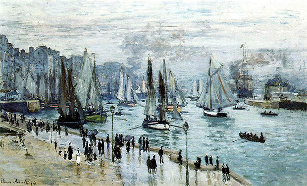 Fishing Boats Leaving The Harbour Le Havre - Claude Monet