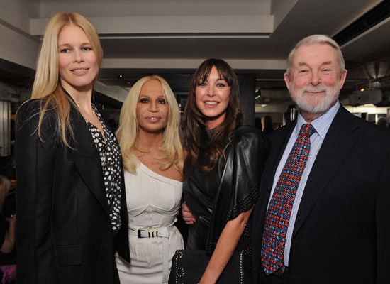 The Anatomy of Fashion author Colin McDowell and fashionable friends: Claudia Schiffer, Donatella Versace and Tamara Mellon