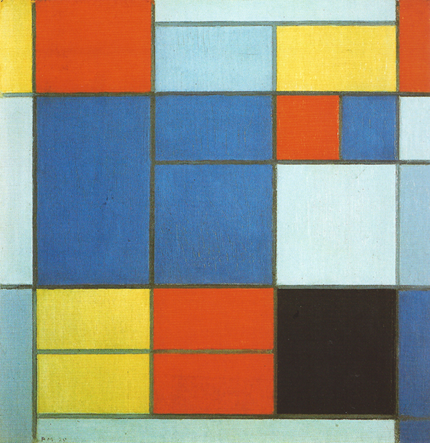 Composition with Red, Blue, Black and Yellow-Green (1920) by Piet Mondrian
