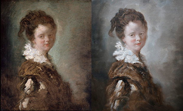 From right: the original Portrait of a Young Woman (c. 1769) by Jean-Honoré Fragonard, and the replica Fishbone commissioned for his exhibition