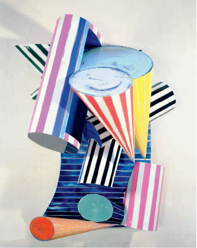 Lo Sciocco Senza Paura 3D–3X (1987) by Frank Stella, from his Cones and Pillars series, as reproduced in our new book