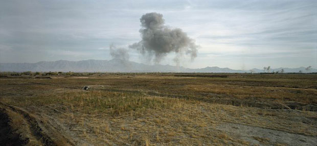Luc Delahaye US Bombing on Taliban Positions 2001 C-print Courtesy Luc Delahaye & Galerie Nathalie Obadia, Paris/Bruxelles