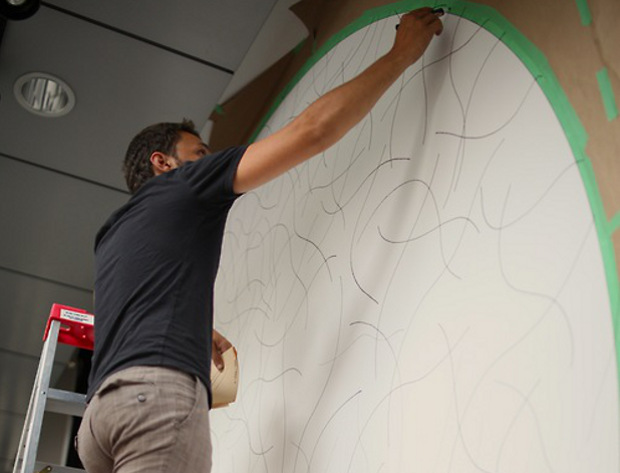 Félipe Goulet Letarte draws Sol LeWitt's Wall Drawing #1099 at Concordia University, Montreal