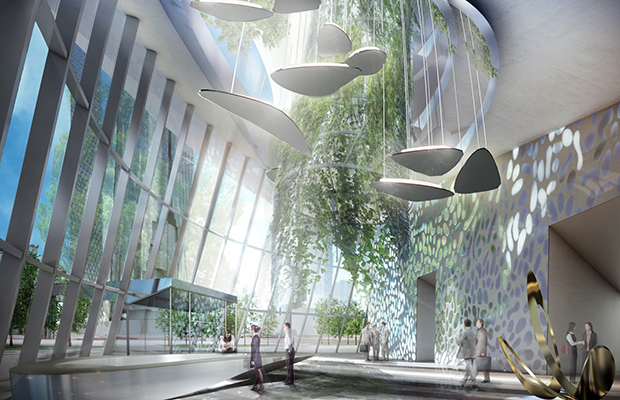 Interior renderings for Flying Garden Tower  by Coop Himmelb(l)au - photo courtesy Coop Himmelb(l)au