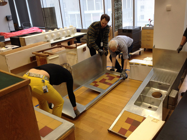 MoMA staff working on their Le Corbusier kitchen, 2012