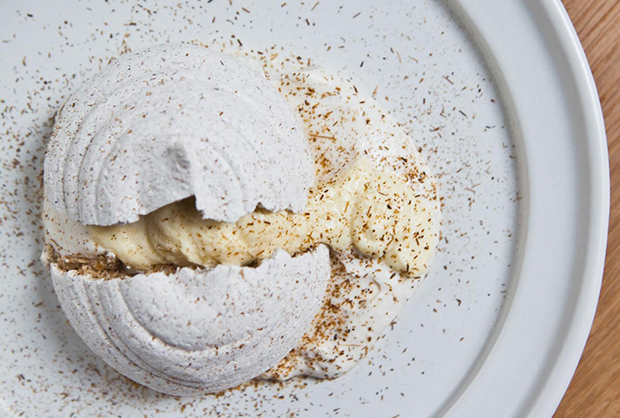 Cosme's cracked meringue filled with corn mousse received praise from Wells