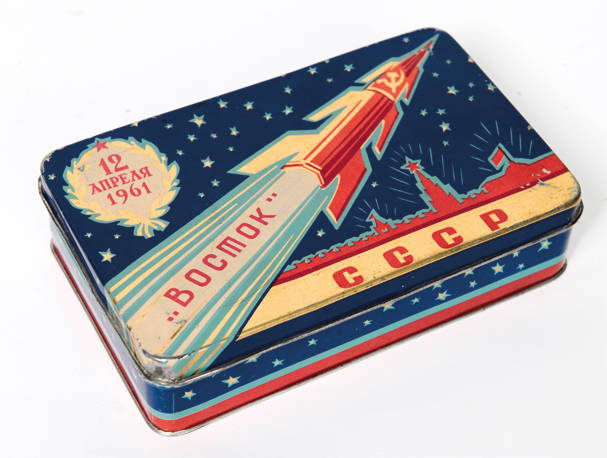 USSR Vostok (East) Rocket Tin for Sweets - Moscow Design Museum