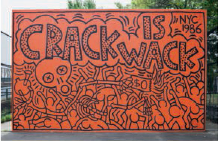 Crack is Wack, 1986, Playground, between East 127th Street, Second Avenue and Harlem River Drive, New York, by Keith Haring