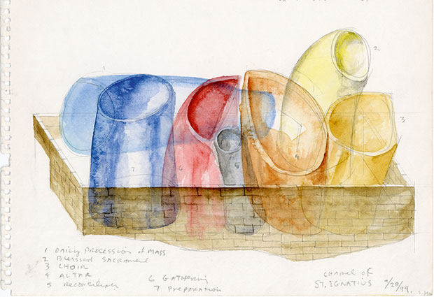 Water colour sketch for St. Ignatius Chapel in Seattle by Steven Holl from our Steven Holl monograph