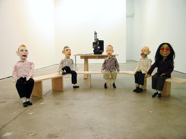 Philippe Parreno and Rirkrit Tiravanija, Untitled (2005) - a set of puppets in the likeness of artists and artist-curators Liam Gillick, Pierre Huyghe, Hans-Ulrich Obrist, Philippe Parreno and Rirkrit Tiravanija.