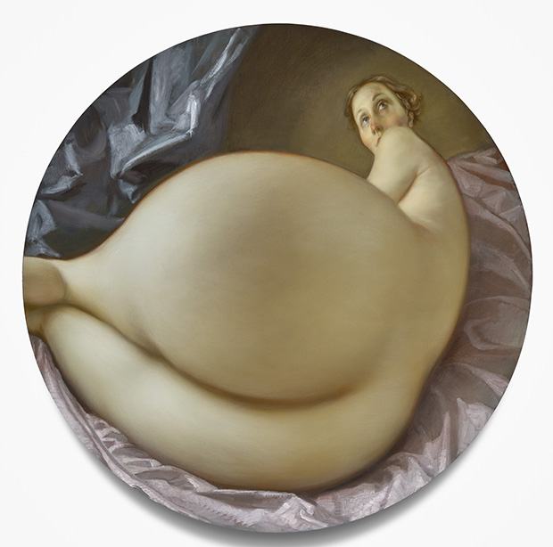 Nude in a Convex Mirror, 2015; oil on canvas; 42 inches diameter (106.7 cm); courtesy of the artist and Gagosian Gallery. (c) John Currin.