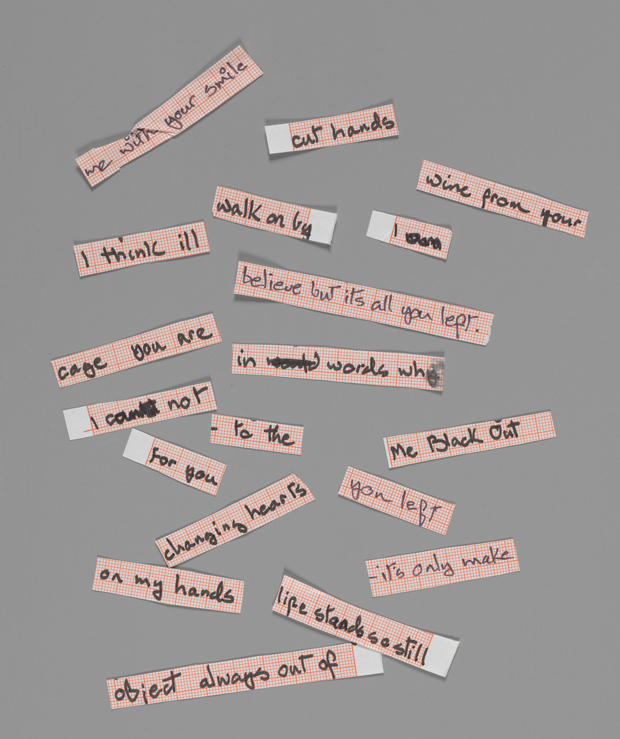 Cut up lyrics for Blackout from Heroes 1977 copyright The David Bowie Archive 2012 image courtesy V&A Images